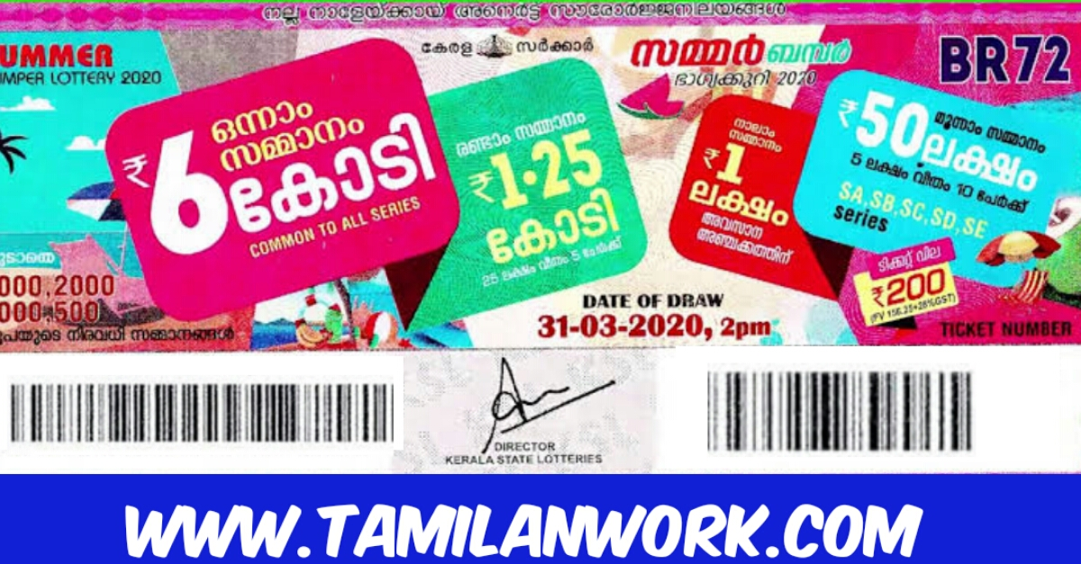 Live Kerala Lottery Result 31.03.2020 OUT || SUMMER Bumper BR 72 Result Download