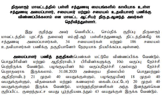 Sathunavu Amaipalar Vacancy in Tiruvarur 2020 – Skill Organizer & Cook Posts
