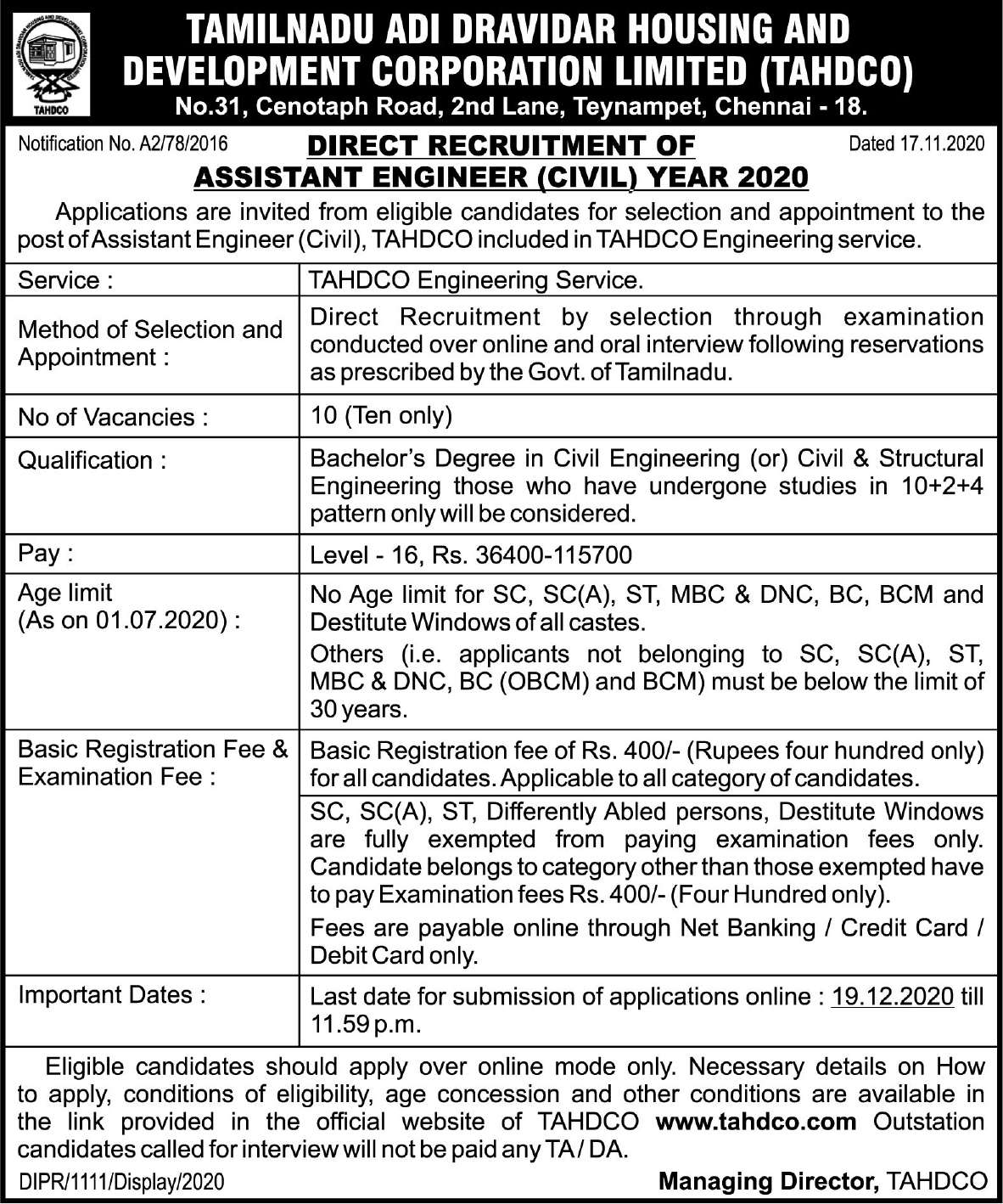 TNHDCO Recruitment 2020 Inspiring Assistant Engineer(Civil) Posts